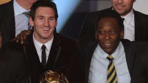 Barcelona's Argentinian forward Lionel Messi (2ndL) poses near Brazilian football legend Pele (C), Barcelona's Brazilian Dani Alves (L) and Santos FC' Brazilian forward Neymar (R) after receiving for the third time the FIFA Ballon d'Or award on January 9, 2012 at the Kongresshaus during the FIFA Ballon d'Or ceremony in Zurich.         AFP PHOTO / FRANCK FIFE (Photo credit should read FRANCK FIFE/AFP/Getty Images)