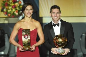 ZURICH, SWITZERLAND - JANUARY 11:  Carli Lloyd of USA and Houston Dash the recipient of the FIFA Women's World Player of the Year Award and Lionel Messi of Argentina and FC Barcelona recipient of the Ballon d'or pose during the FIFA Ballon d'Or Gala 2015 at the Kongresshaus on January 11, 2016 in Zurich, Switzerland.  (Photo by Matthias Hangst/Getty Images)